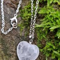 Kette Bergkristall Herz Anhänger versilbert Edelstein Gliederkette natürlich Damenkette klar Geschenkverpackung Bild 1