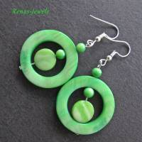 Perlmutt Ohrhänger grün silberfarben Ohrringe Perlmuttohrringe Bild 6