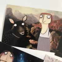 Kunstpostkarten Märchen lacaluna Postkarten, Grußkarten, Geburtstagskarten, Papier, Glückwunschkarten, Malerei, Acrylbil Bild 1
