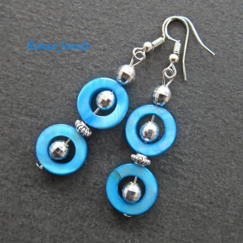 Perlmutt Ohrhänger blau silberfarben Ohrringe Perlmuttohrringe
