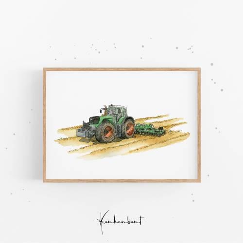 Kinderbild / Poster fürs Kinderzimmer - Traktor - Wandbild, Plakat, Dekoration, Geschenk