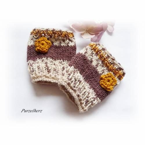 Handgestrickte Armstulpen/Pulswärmer für´s Baby/Kleinkind - Handstulpen,Geschenk,Geburt,Taufe,braun,creme
