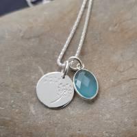 Silberkette 925 mit Aquamarin oval geschliffen mit Silber eingefasst Pusteblume Amulett Edelsteinkette Damen Geschenkbox Bild 1