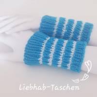 Pulswärmer handgestrickt türkis weiß gestreift oder Wunschfarbe - Damen - Einheitsgröße - Modell 14 Bild 1