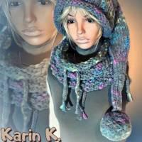 Zipfelmütze mit Rollrand und Pompon Grau mit Farbtupfern in Türkis Pink Limone Wolle handgestrickt katia Bild 10