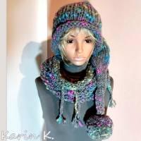 Zipfelmütze mit Rollrand und Pompon Grau mit Farbtupfern in Türkis Pink Limone Wolle handgestrickt katia Bild 3