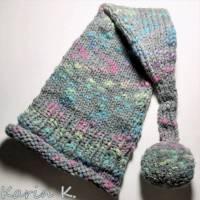 Zipfelmütze mit Rollrand und Pompon Grau mit Farbtupfern in Türkis Pink Limone Wolle handgestrickt katia Bild 7