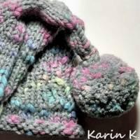 Zipfelmütze mit Rollrand und Pompon Grau mit Farbtupfern in Türkis Pink Limone Wolle handgestrickt katia Bild 9