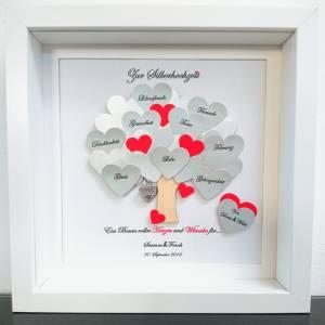 Silberhochzeit Geschenk, Hochzeitsgeschenk, 25.Jahrestag,Bilderrahmen mit Daten,personalisiert Bild 1