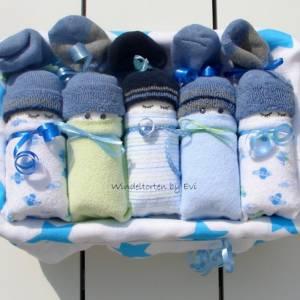 Windeltorte für Junge: Windelbabys, Geschenk zur Geburt, liebevoll gestaltetes Babygeschenk Bild 1