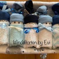 Windeltorte für Junge: Windelbabys, Geschenk zur Geburt, liebevoll gestaltetes Babygeschenk Bild 2