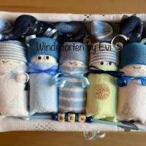 Windeltorte für Junge: Windelbabys, Geschenk zur Geburt, liebevoll gestaltetes Babygeschenk Bild 7