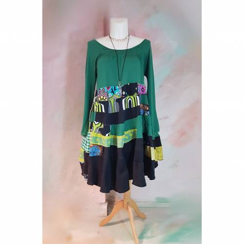 Kleid 46 - 48 grün/schwarz Upcycling langer Arm XL XXL Maxikleid Baumwolle Übergröße Damenkleid Baumwollkleid PlusSize