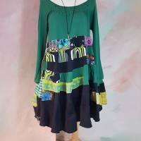 Kleid 46 - 48 grün/schwarz Upcycling langer Arm XL XXL Maxikleid Baumwolle Übergröße Damenkleid Baumwollkleid PlusSize Bild 1