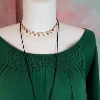 Kleid 46 - 48 grün/schwarz Upcycling langer Arm XL XXL Maxikleid Baumwolle Übergröße Damenkleid Baumwollkleid PlusSize Bild 2