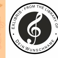 """Exlibris Stempel - Ex Libris Stempel - Exlibris Stempel Musik """"from the Library of...."""" No.exl-10415 Bild 1"""