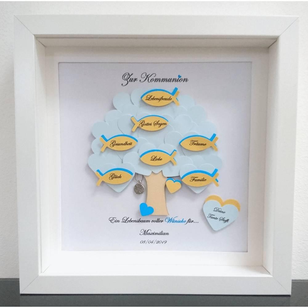 Geschenk Kommunion, Konfirmationsgeschenk, Junge, Patenkind, Lebensbaum, individuelles Geschenk, personalisiert  Bild 1