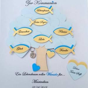Geschenk Kommunion, Konfirmationsgeschenk, Junge, Patenkind, Lebensbaum, individuelles Geschenk, personalisiert  Bild 4