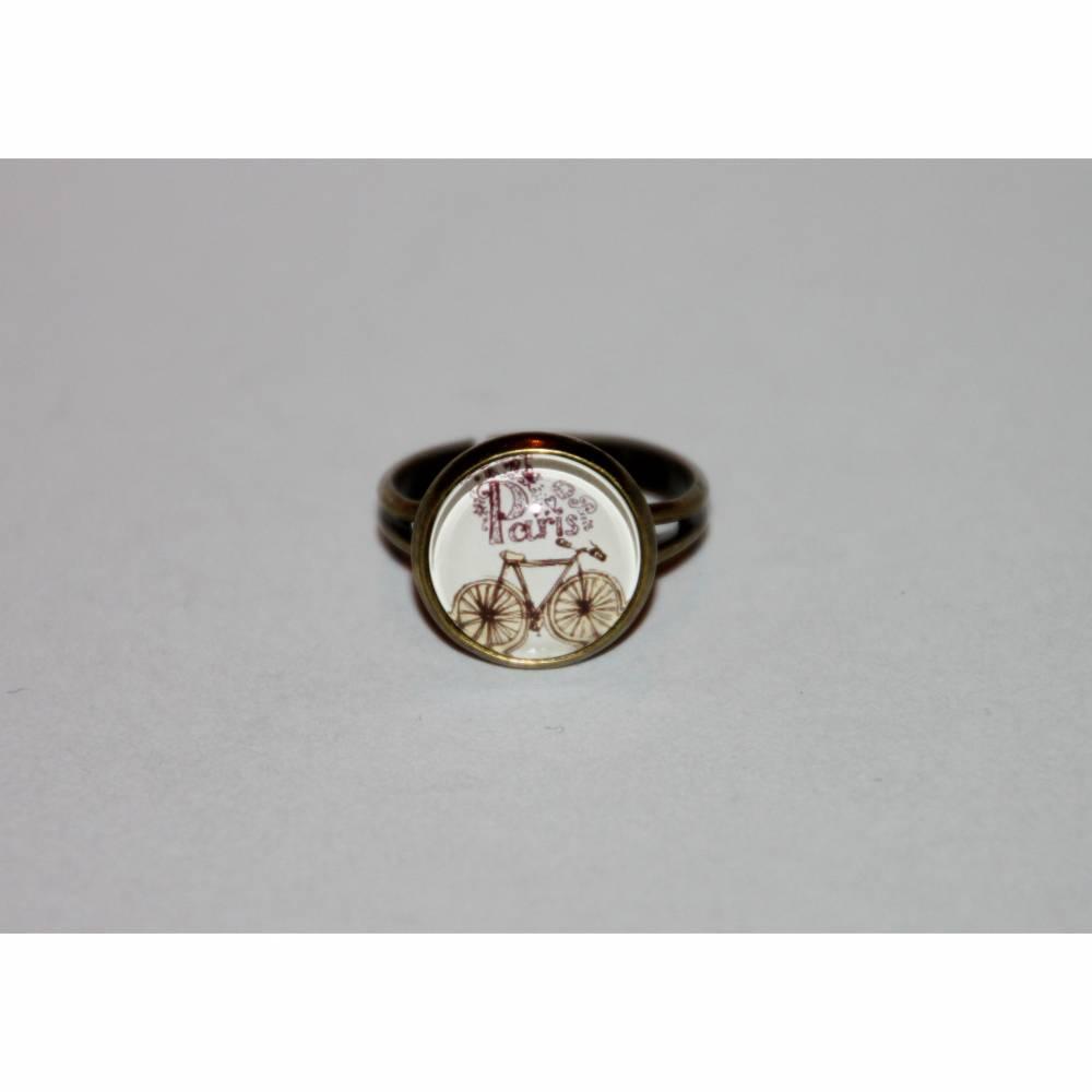 1 bronzefarbener Ring   Fahrrad und Schriftzug Paris Bild 1