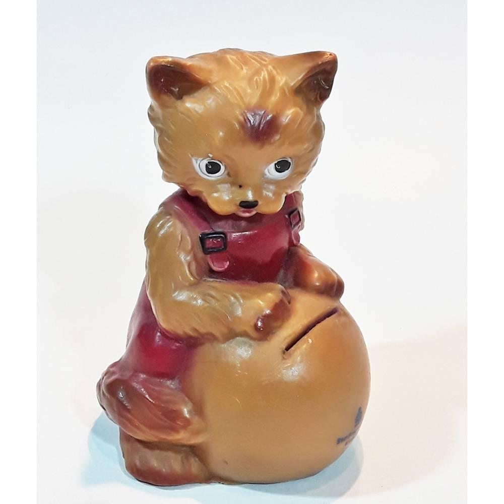 Vintage Spardose Katze mit Ball Bild 1