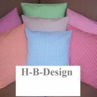 Kissenbezug in 35x35cm, klassisch im Karo-Design in Wunschfarbe, reine Baumwolle, waschbar bis 40°. Bild 1