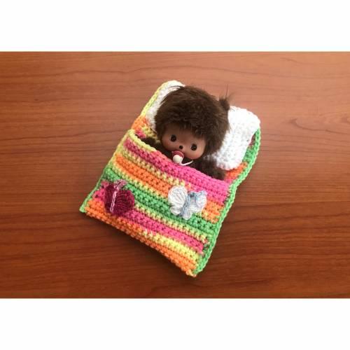 Schmetterlinge Puppenbettchen - Schlafsack für Bebichhichi 13 cm