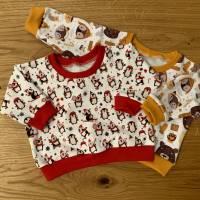 Lounge Sweater / Pullover Größen 62, 28, 80 French Terry winterliche Waldtiere Bild 4