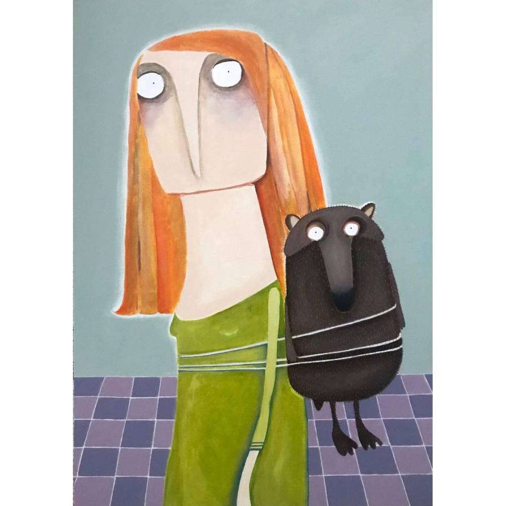 """Acrylbild """"Amrei Stankowiak wurde ein heftiger Bär aufgebunden"""" Gemälde lacaluna Bild 1"""