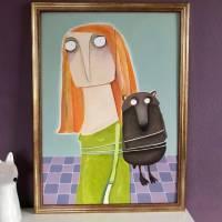"""Acrylbild """"Amrei Stankowiak wurde ein heftiger Bär aufgebunden"""" Gemälde lacaluna Bild 2"""