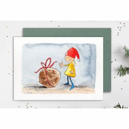"""Original Illustration - Grußkarte """"kleiner Wichtel"""", Faltkarte für Kinder zu Ostern"""