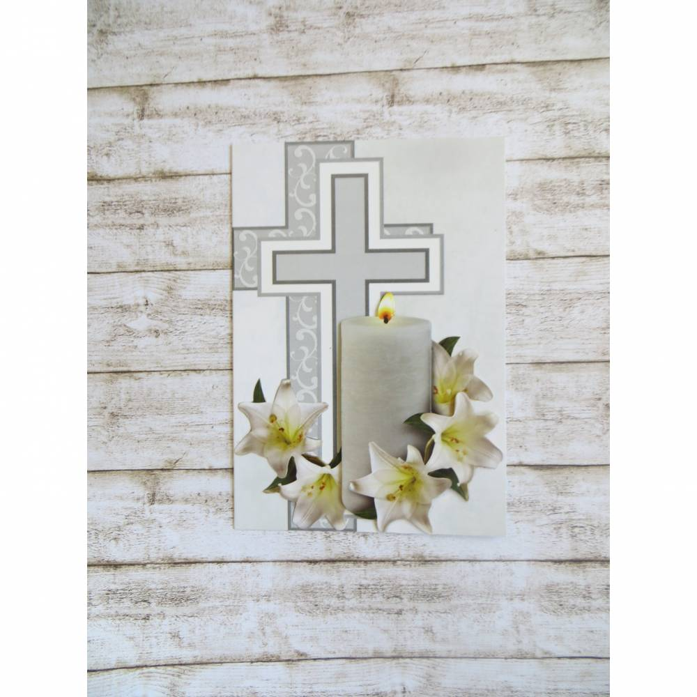 Trauerkarte Kerze und Lilien, Beileidskarte Bild 1