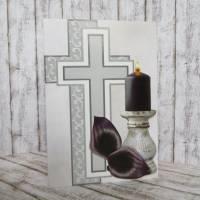 Trauerkarte Kerze und Lilien, Beileidskarte Bild 2