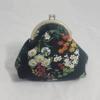Geldbörse schwarz, Blumen, Portemonnaie klein, Geldbeutel, Bügeltasche vintage, Geschenk für sie Bild 1