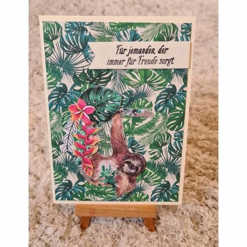 """Gratulationskarte """" Dschungelmotiv mit Faultier """""""