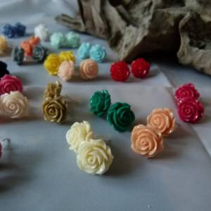 "APRICOT -Vintage Ohrring ""Rose"" Blumen Ohrstecker Bild 2"