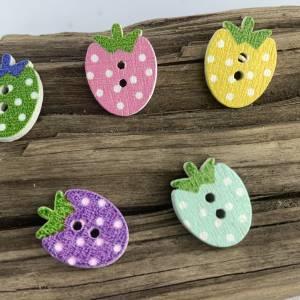 5 bunte Erdbeeren mit Punkten als Knöpfe * Erdbeerknöpfe * Erdbeeren * gepunktet * Knöpfe * Erdbeere * Scrapbooking Bild 4