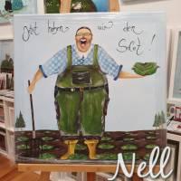 """Selbstgemaltes Nell-Motiv als Leinwanddruck """" Jetzt haben wir den Salat"""" Bild 1"""