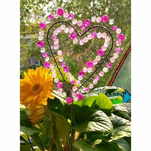 Blumenstecker Pflanzenstecker Dekoherz Rosa/Pink/Weiß