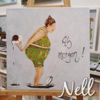 """Selbstgemaltes Nell-Motiv als Leinwanddruck """" Ab morgen"""" Bild 1"""