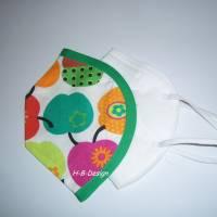 FFP2-Masken Überzug, einlagig-retro-Äpfel-bunt, Baumwolle, waschbar bis 60° Bild 1