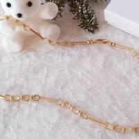 Halskette Edelstein Collier Citrin Würfel champagner, mit Schmuckteilen in Sterlingsilber 925/- goldplattiert Bild 2
