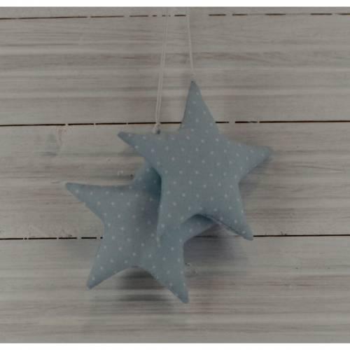 Stoff Sterne hellblau weiß 2 Stück