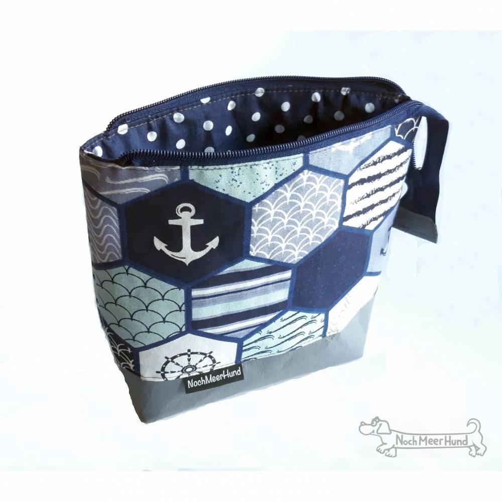 Maritimes Täschchen, Kosmetiktasche, Projekttasche; für Strickzeug, Krimskrams... Bild 1