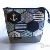 Maritimes Täschchen, Kosmetiktasche, Projekttasche; für Strickzeug, Krimskrams... Bild 2
