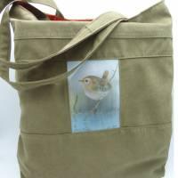 Einkaufstasche 'Zaunkönig', upcycelt, nachhaltig, 2 in 1, beidseitig nutzbar, Unikat von hessmade Bild 1
