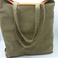 Einkaufstasche 'Zaunkönig', upcycelt, nachhaltig, 2 in 1, beidseitig nutzbar, Unikat von hessmade Bild 4
