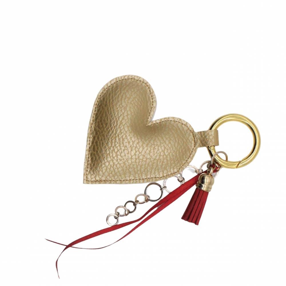 """Schlüssel-Anhänger """"goldenes Herz"""" * Taschen-Anhänger * Mitbringsel * Muttertag * Geschenkidee * Taschenbaumler  Bild 1"""
