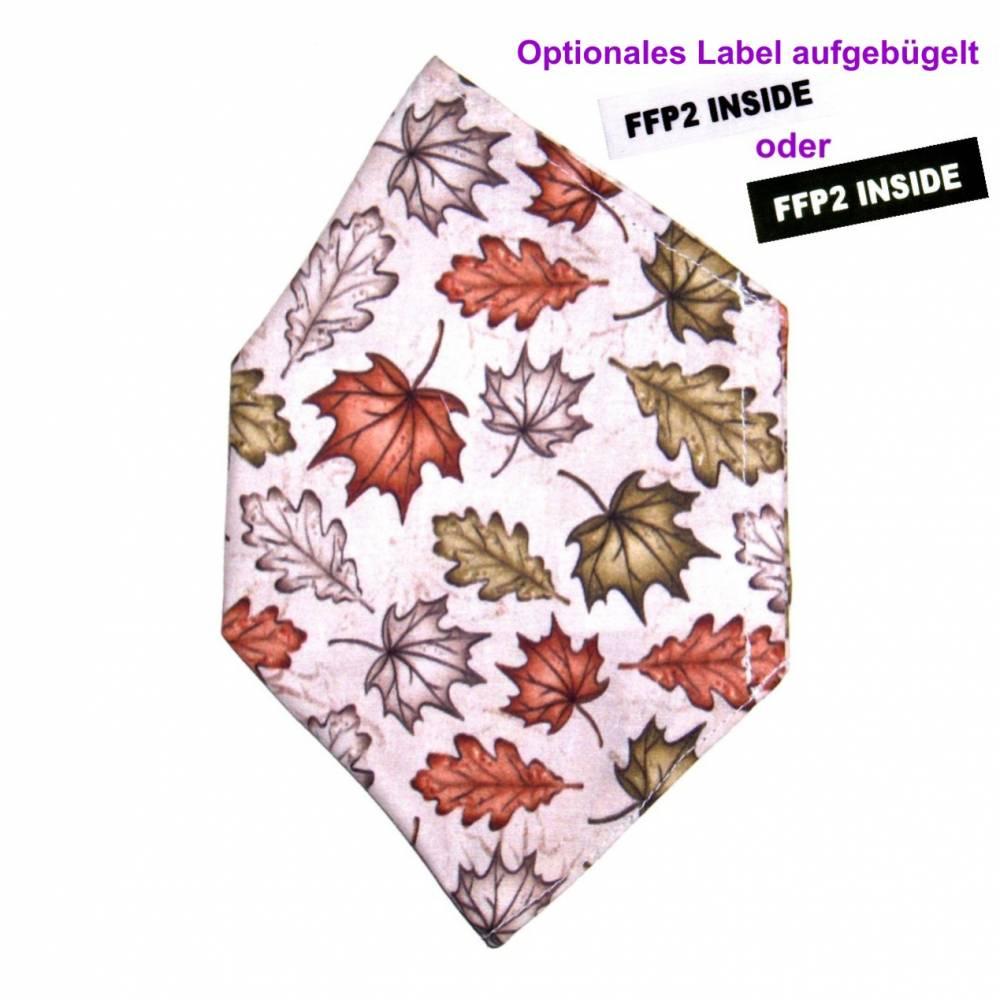 """Überzug für FFP2 Maske """"Blätter Grau"""" - einlagig - 100% Baumwolle - Waschbar - Stoffhülle - Stoffüberzug Bild 1"""