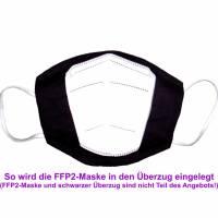 """Überzug für FFP2 Maske """"Blätter Grau"""" - einlagig - 100% Baumwolle - Waschbar - Stoffhülle - Stoffüberzug Bild 4"""