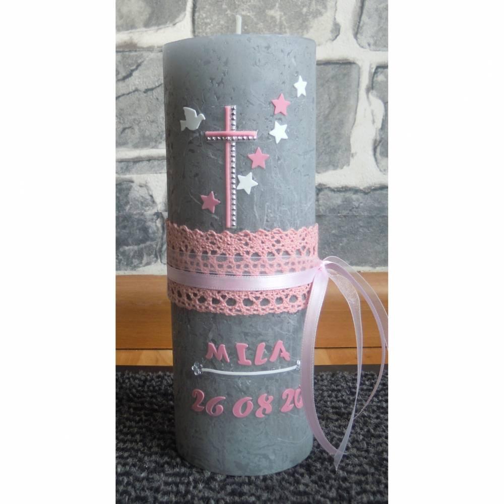 Taufkerze Rustik Kreuz Rosa Bild 1